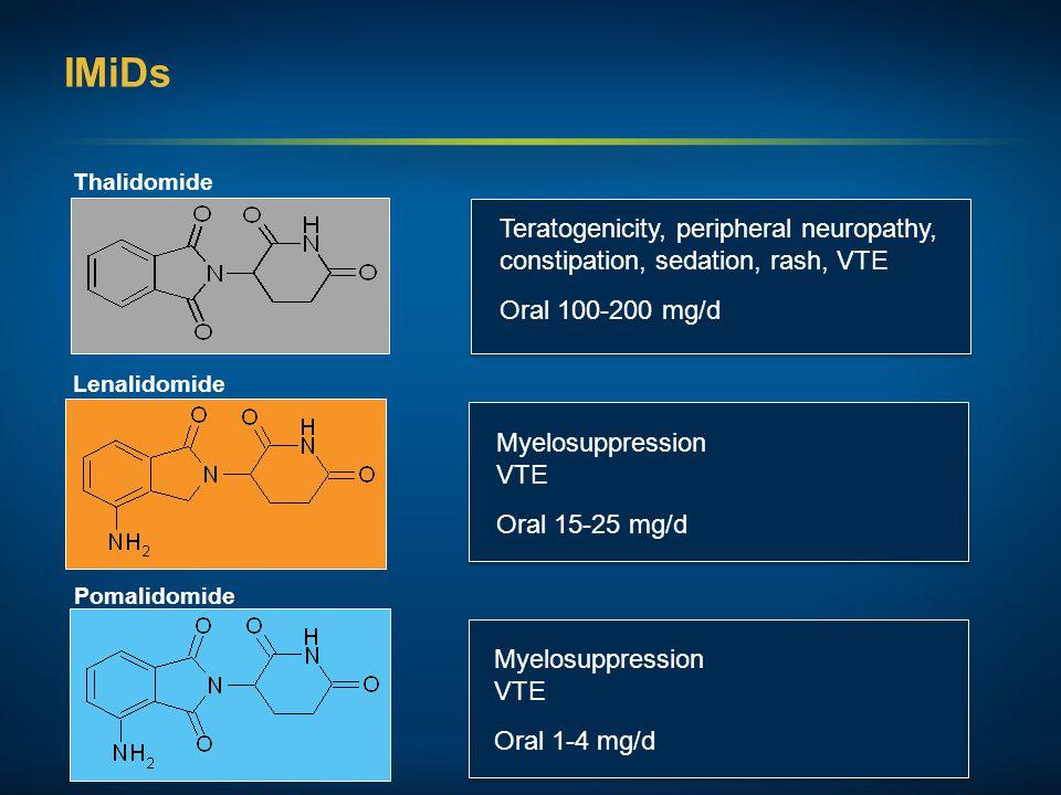 IMiDs Thalidomide Lenalidomide Pomalidomide Teratogenicity, peripheral neuropathy, constipation, sedation, rash, VTE Oral 100-200 mg/d Myelosuppressio
