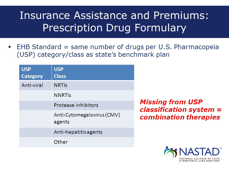 Insurance Assistance and Premiums: Prescription Drug Formulary  EHB Standard = same number of drugs per U.S. Pharmacopeia (USP) category/class as sta