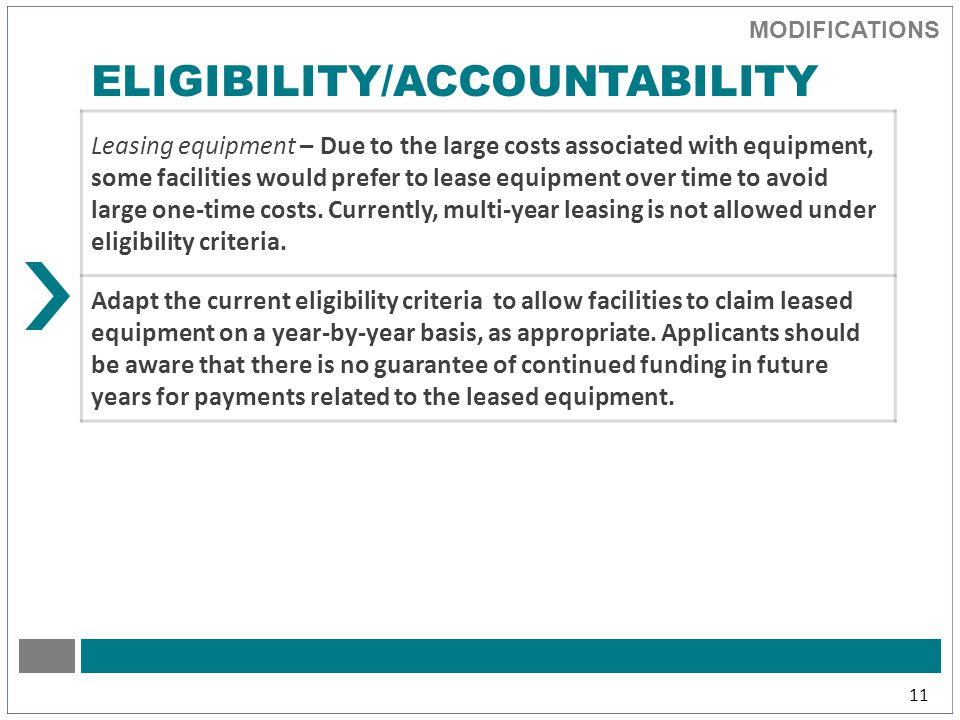 MODIFICATIONS 11 ELIGIBILITY/ACCOUNTABILITY Leasing equipment – Due to the large costs associated with equipment, some facilities would prefer to lease equipment over time to avoid large one-time costs.