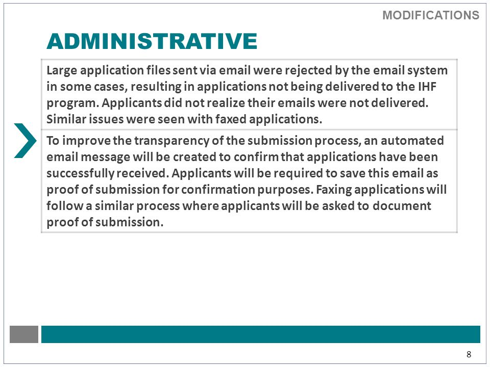 MODIFICATIONS 8 ADMINISTRATIVE Large application files sent via email were rejected by the email system in some cases, resulting in applications not being delivered to the IHF program.