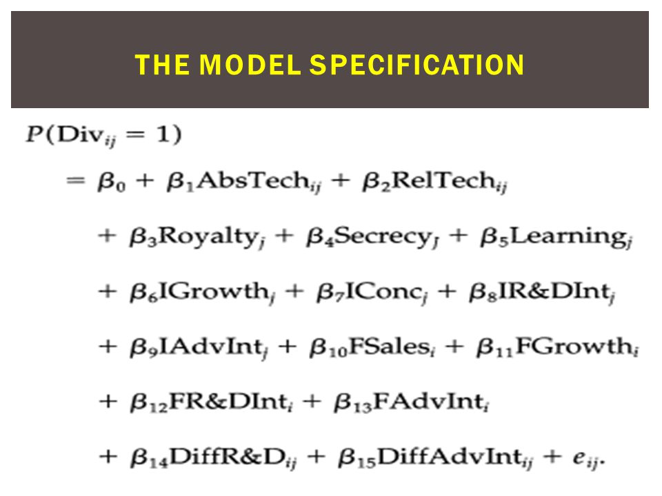 THE MODEL SPECIFICATION