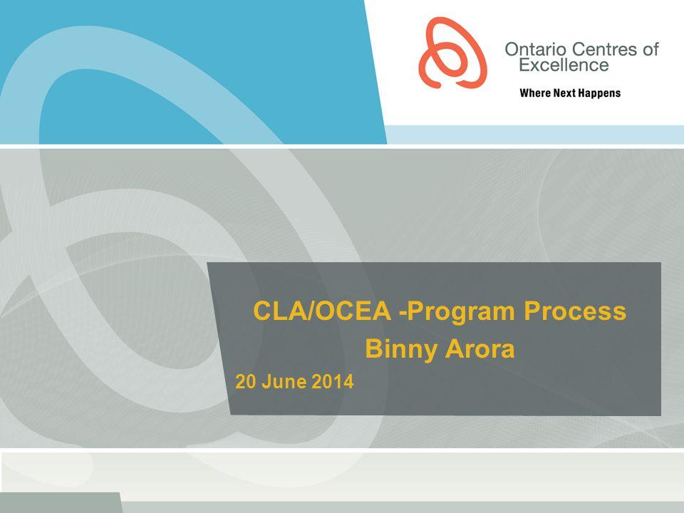 CLA/OCEA -Program Process Binny Arora 20 June 2014