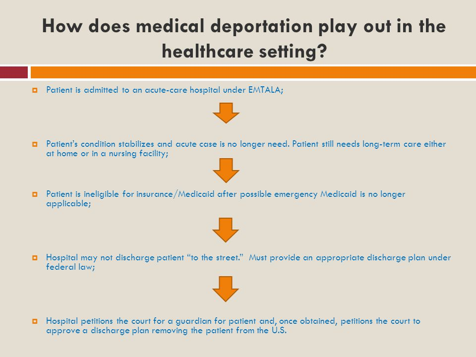 How does medical deportation play out in the healthcare setting.