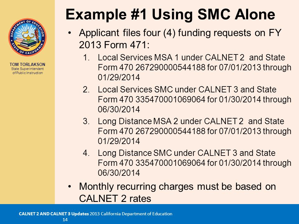 TOM TORLAKSON State Superintendent of Public Instruction CALNET 2 AND CALNET 3 Updates 2013 California Department of Education 14 Example #1 Using SMC