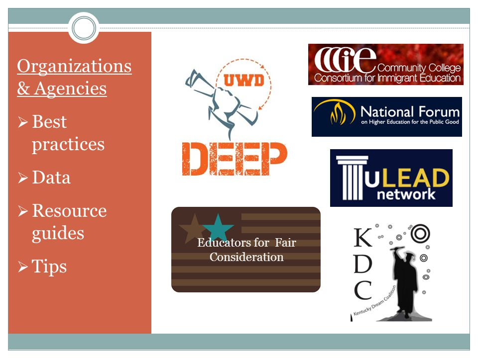 Organizations & Agencies  Best practices  Data  Resource guides  Tips Educators for Fair Consideration