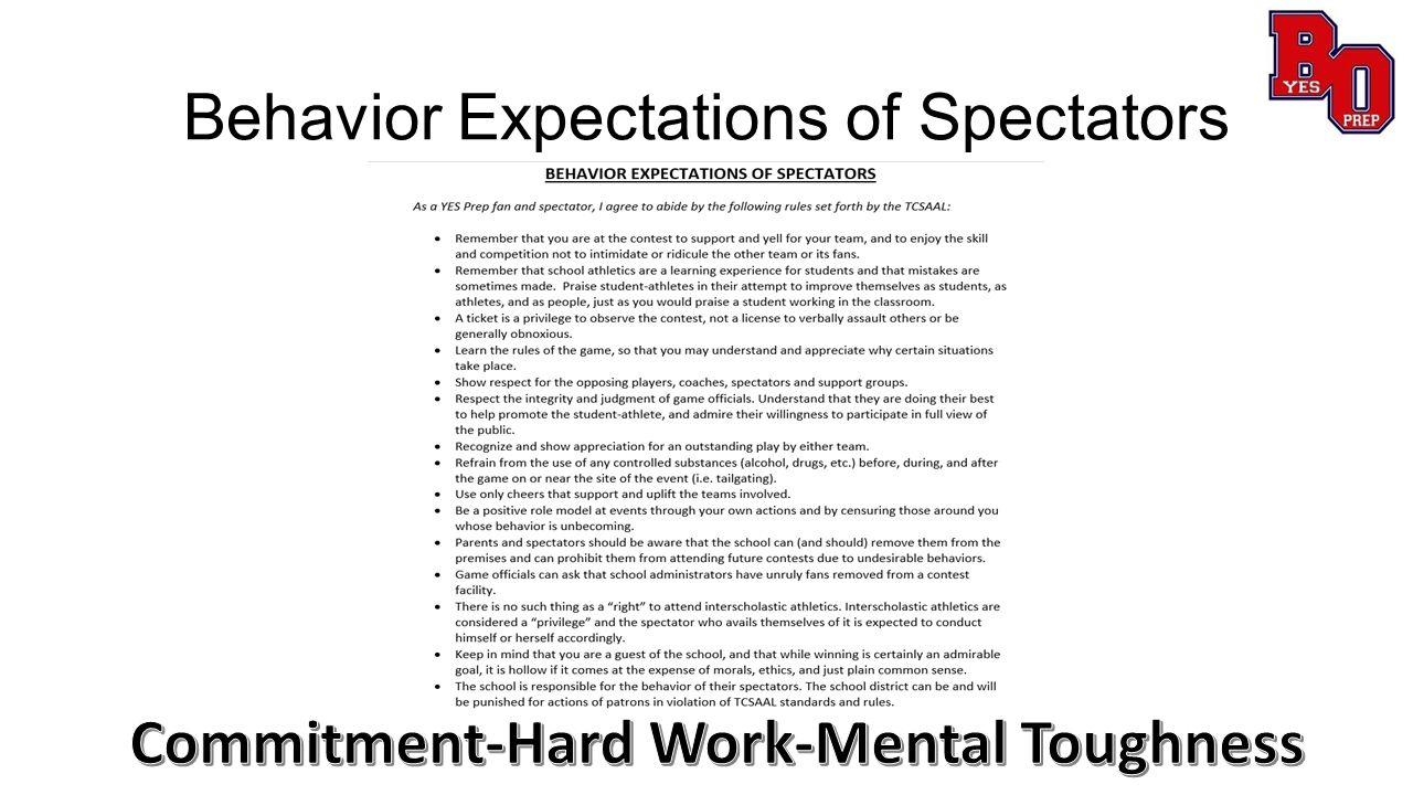 Behavior Expectations of Spectators