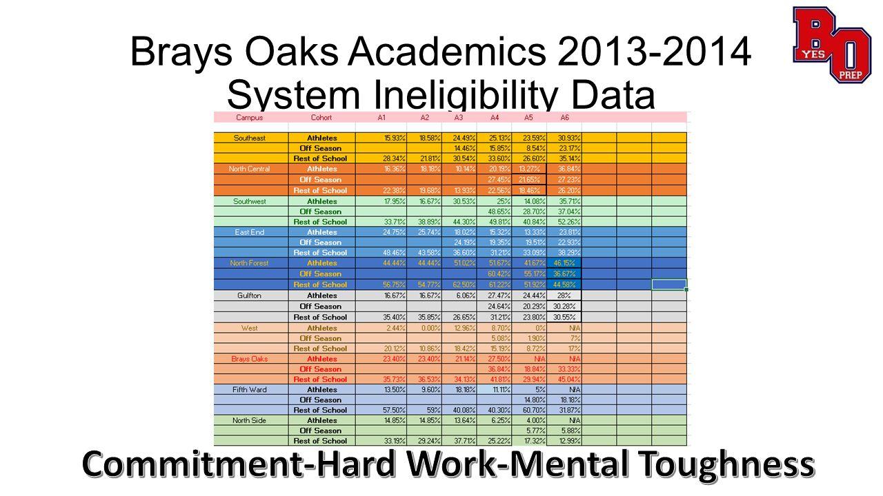 Brays Oaks Academics 2013-2014 System Ineligibility Data