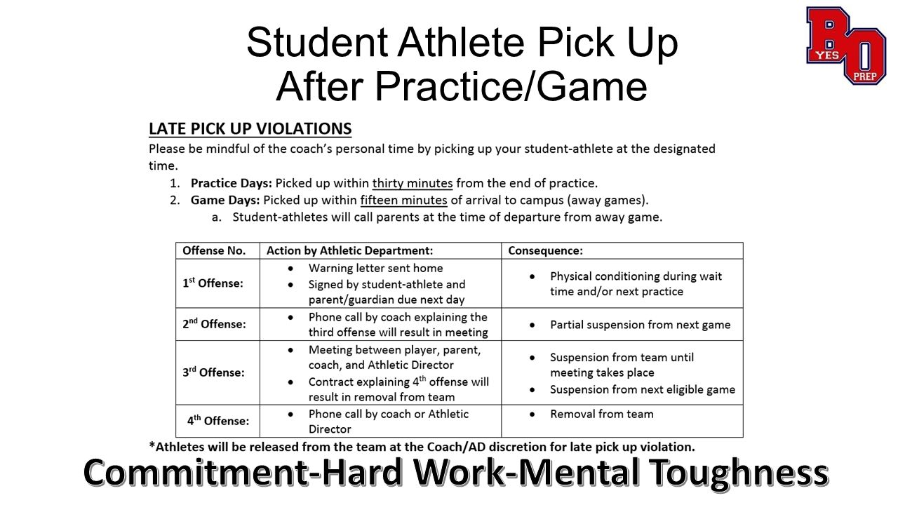 Student Athlete Pick Up After Practice/Game