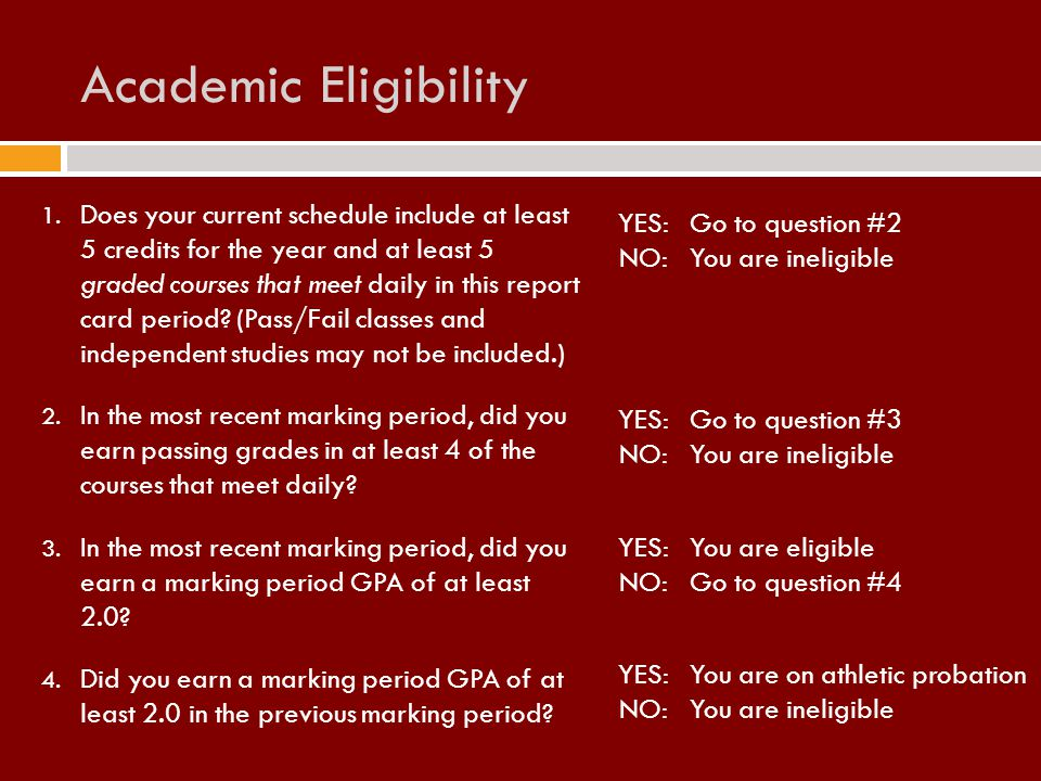1. Does your current schedule include at least 5 credits for the year and at least 5 graded courses that meet daily in this report card period? (Pass/