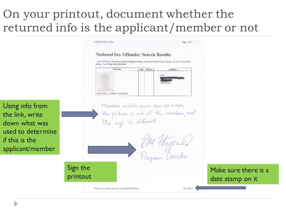 On your printout, document whether the returned info is the applicant/member or not Using info from the link, write down what was used to determine if