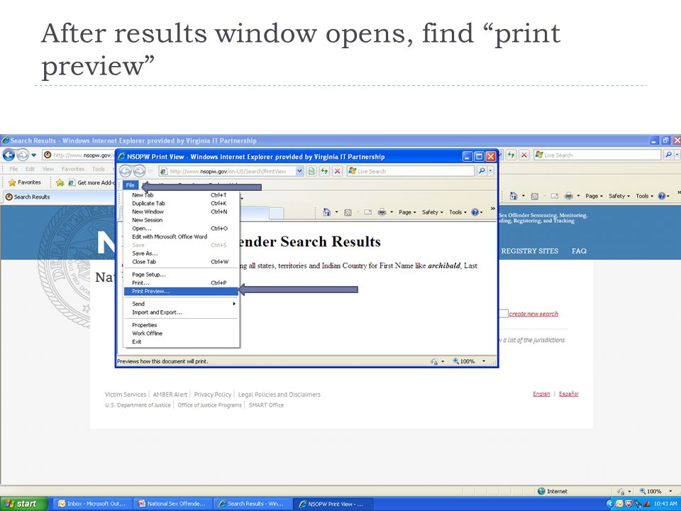 "After results window opens, find ""print preview"""