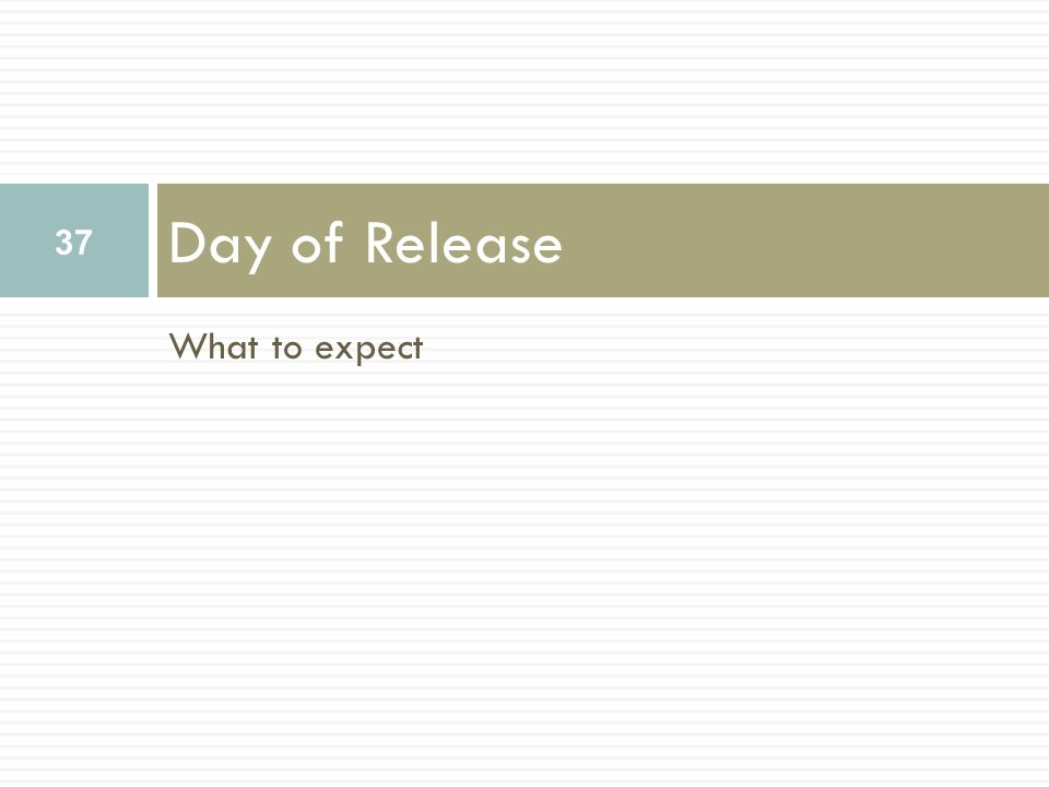 What to expect Day of Release 37