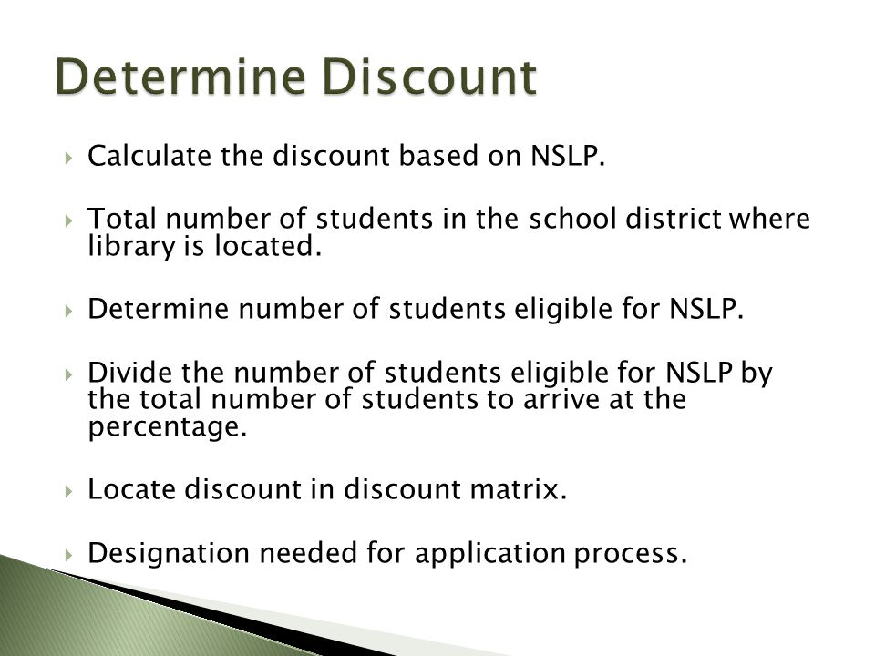 Calculate the discount based on NSLP.