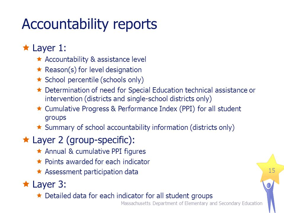 Accountability reports  Layer 1:  Accountability & assistance level  Reason(s) for level designation  School percentile (schools only)  Determination of need for Special Education technical assistance or intervention (districts and single-school districts only)  Cumulative Progress & Performance Index (PPI) for all student groups  Summary of school accountability information (districts only)  Layer 2 (group-specific):  Annual & cumulative PPI figures  Points awarded for each indicator  Assessment participation data  Layer 3:  Detailed data for each indicator for all student groups 15 Massachusetts Department of Elementary and Secondary Education