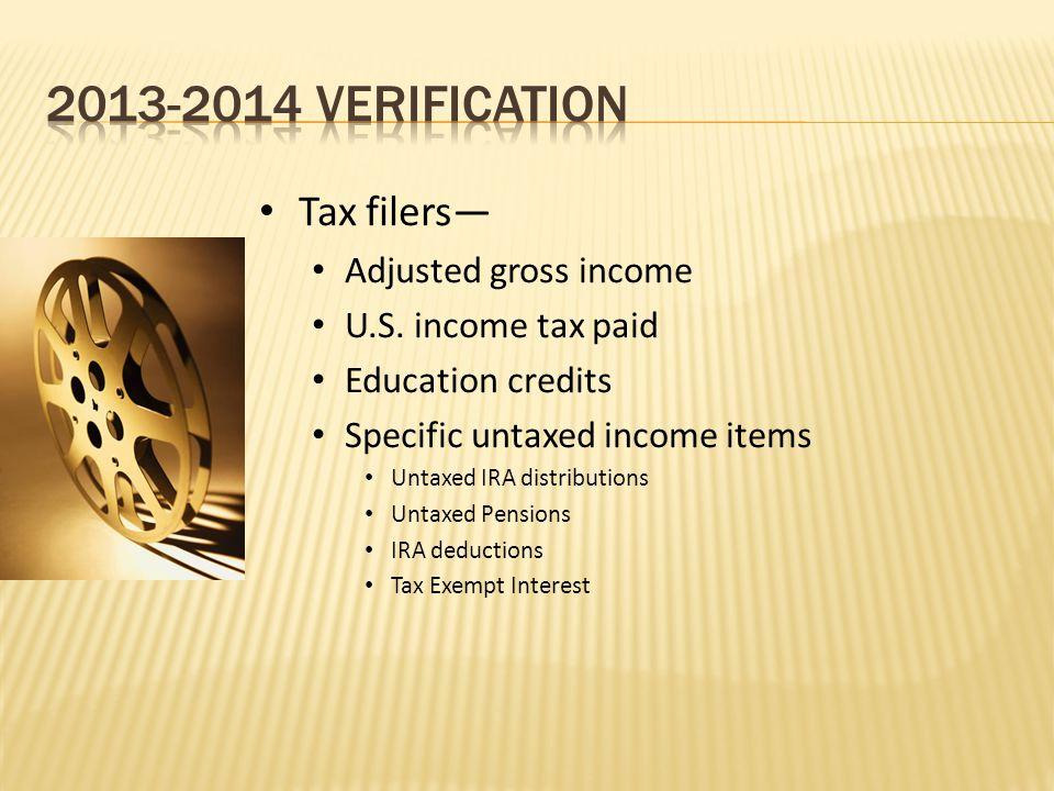 Tax filers— Adjusted gross income U.S.