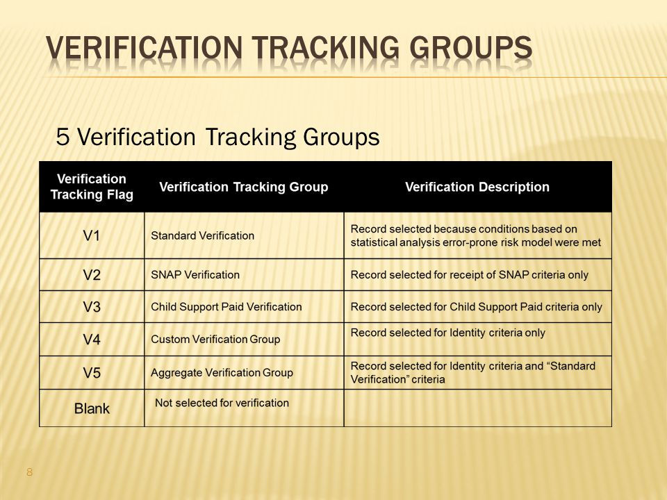 5 Verification Tracking Groups 8