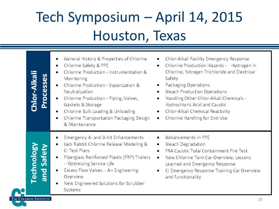 Tech Symposium – April 14, 2015 Houston, Texas 26
