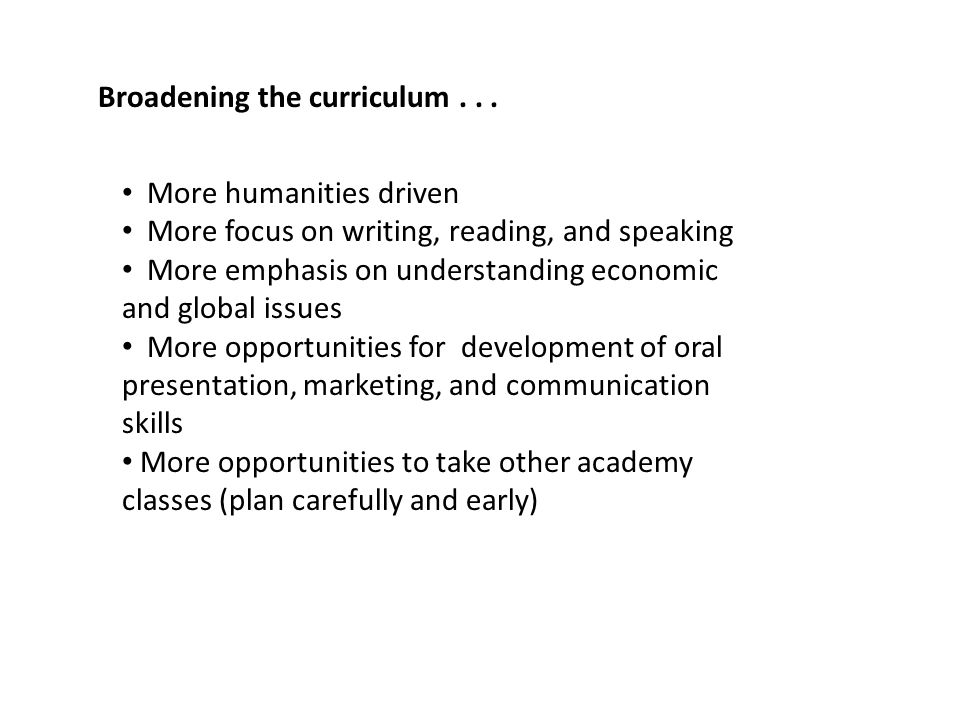 Broadening the curriculum...