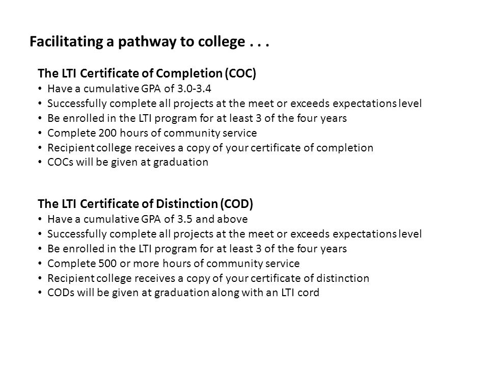 Facilitating a pathway to college...