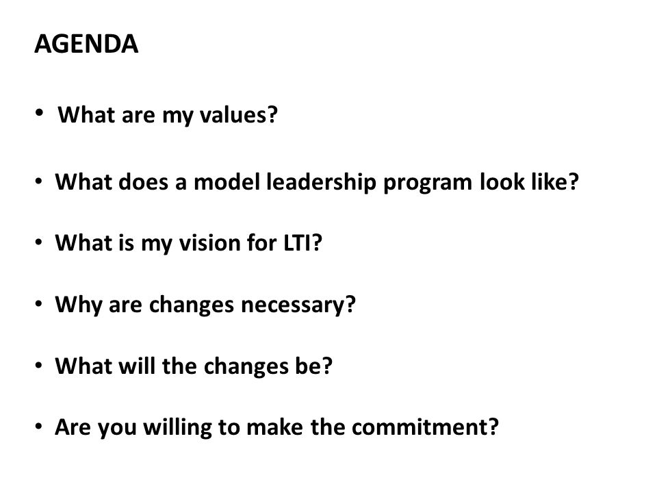 AGENDA What are my values. What does a model leadership program look like.