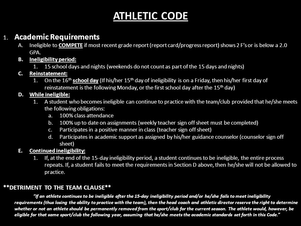 ATHLETIC CODE 1.