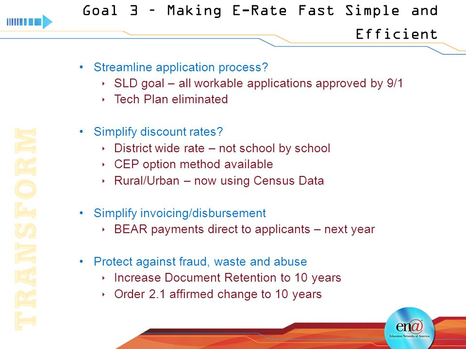 Goal 3 – Making E-Rate Fast Simple and Efficient Streamline application process.