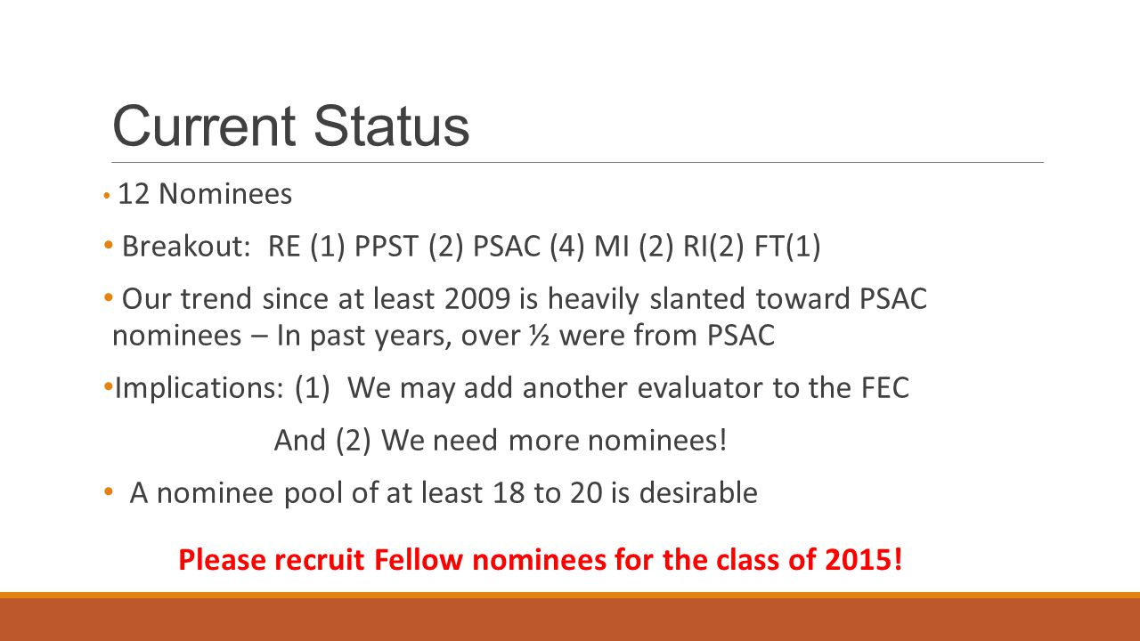 Current Status 12 Nominees Breakout: RE (1) PPST (2) PSAC (4) MI (2) RI(2) FT(1) Our trend since at least 2009 is heavily slanted toward PSAC nominees