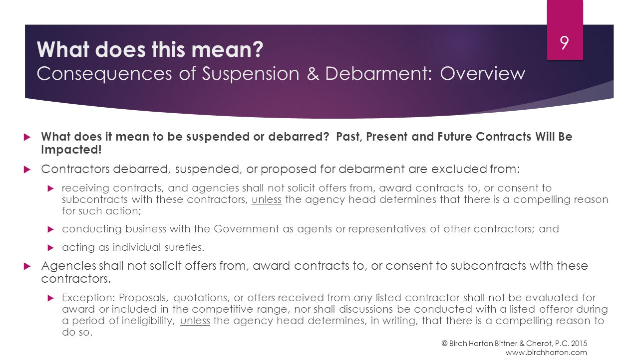  What does it mean to be suspended or debarred.