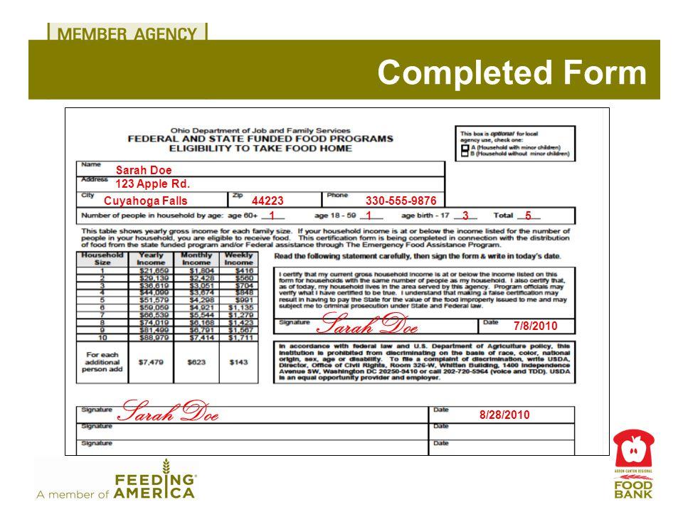 Completed Form Sarah Doe 123 Apple Rd.