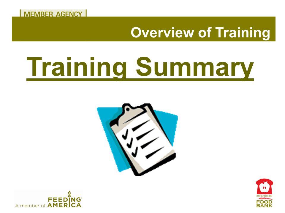 Training Summary Overview of Training