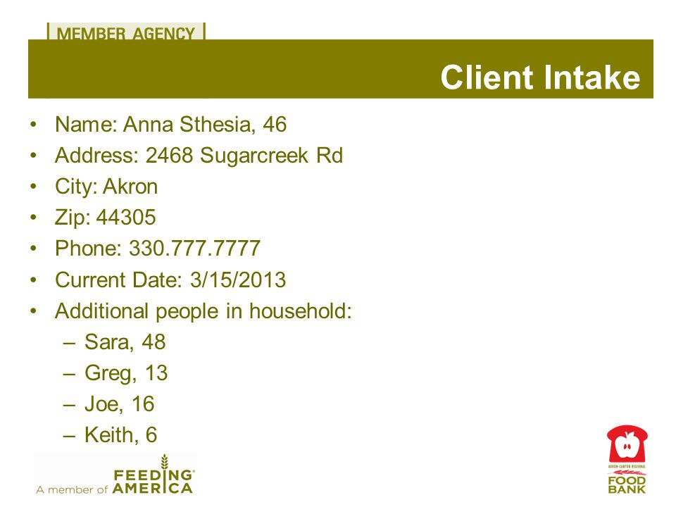 Name: Anna Sthesia, 46 Address: 2468 Sugarcreek Rd City: Akron Zip: 44305 Phone: 330.777.7777 Current Date: 3/15/2013 Additional people in household: