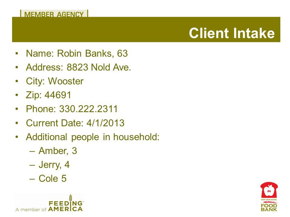 Name: Robin Banks, 63 Address: 8823 Nold Ave.