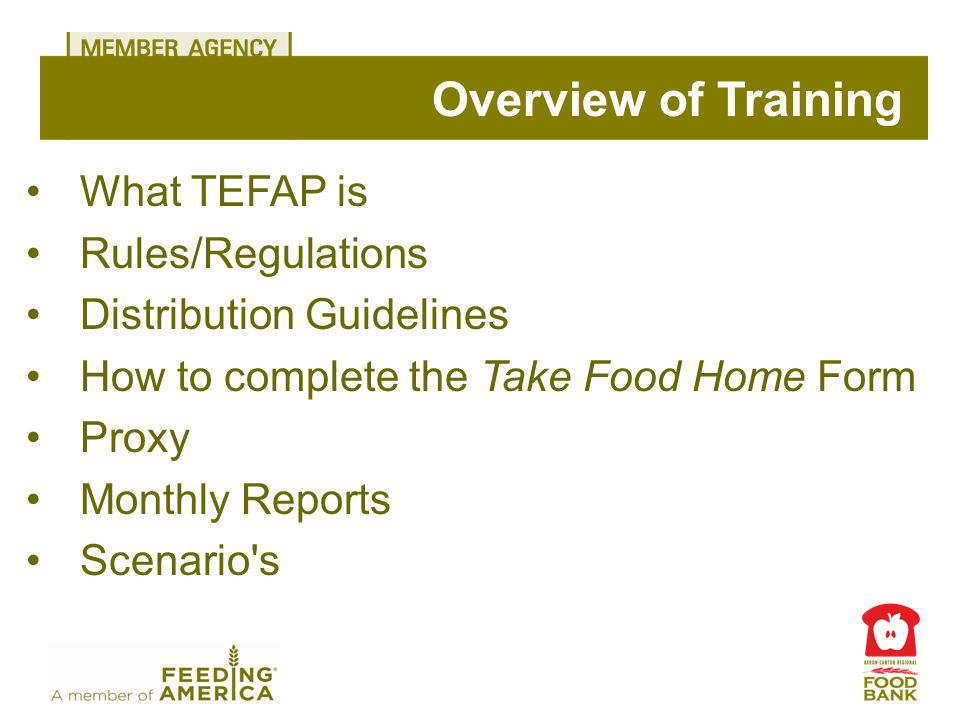What TEFAP is Rules/Regulations Distribution Guidelines How to complete the Take Food Home Form Proxy Monthly Reports Scenario's Overview of Training