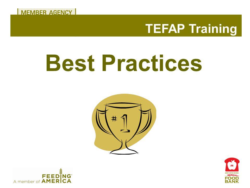 Best Practices TEFAP Training