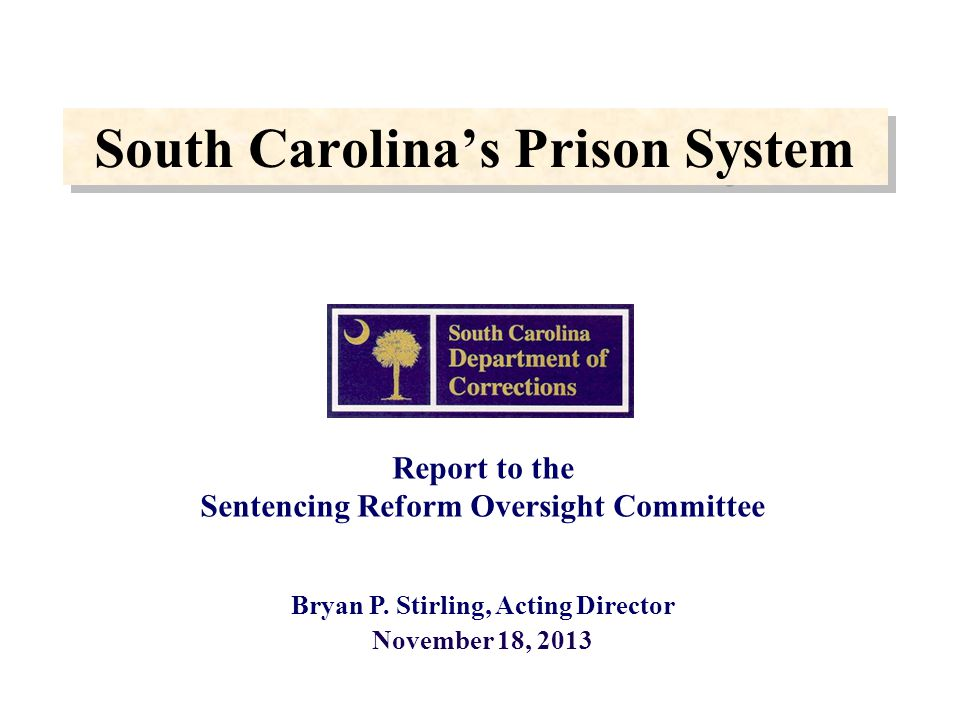 South Carolina's Prison System Report to the Sentencing Reform Oversight Committee Bryan P.
