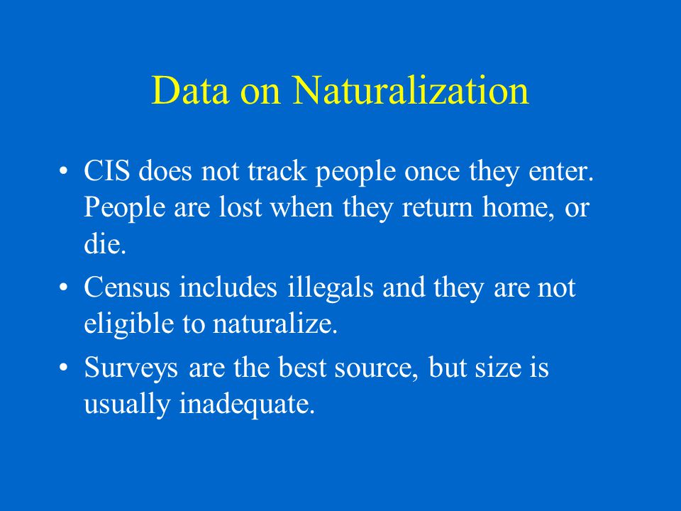 Data on Naturalization CIS does not track people once they enter.