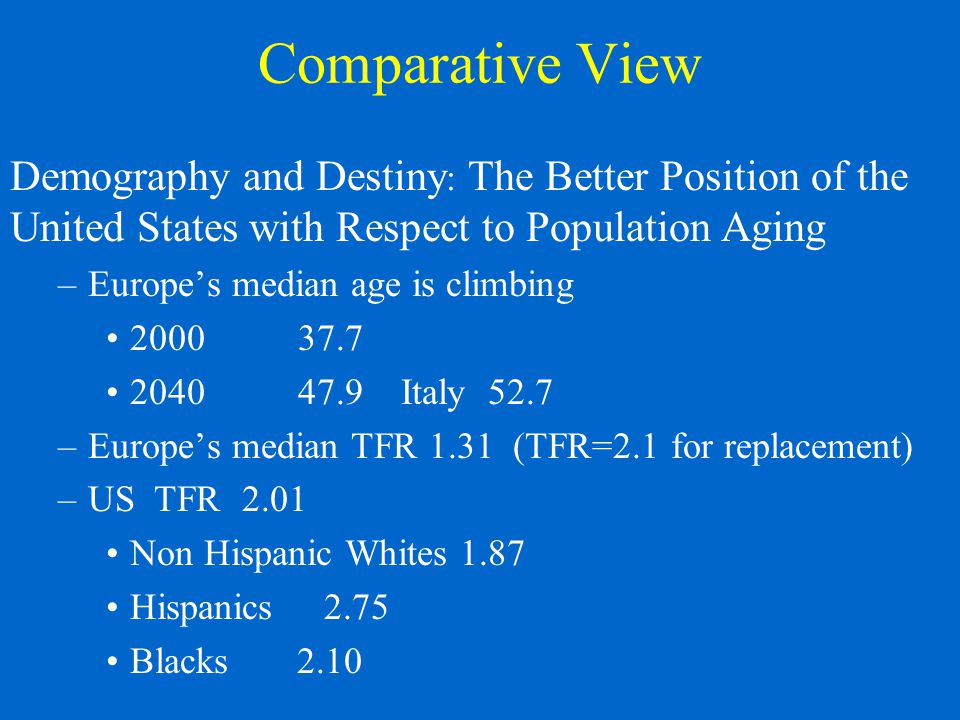 Comparative View Demography and Destiny : The Better Position of the United States with Respect to Population Aging –Europe's median age is climbing 2000 37.7 204047.9 Italy 52.7 –Europe's median TFR 1.31 (TFR=2.1 for replacement) –US TFR 2.01 Non Hispanic Whites 1.87 Hispanics 2.75 Blacks 2.10