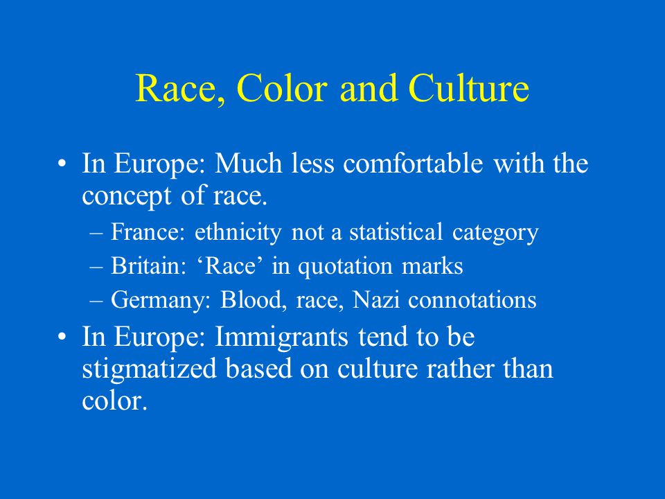 Race, Color and Culture In Europe: Much less comfortable with the concept of race.