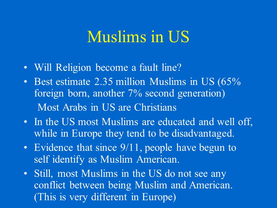 Muslims in US Will Religion become a fault line.