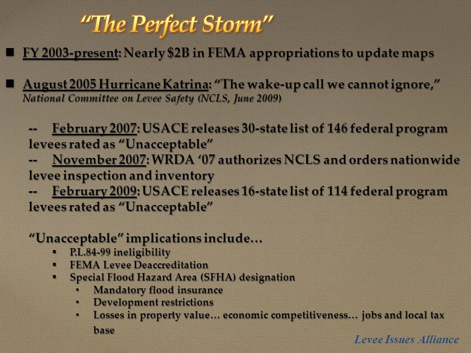 FY 2003-present: Nearly $2B in FEMA appropriations to update maps FY 2003-present: Nearly $2B in FEMA appropriations to update maps August 2005 Hurricane Katrina: The wake-up call we cannot ignore, National Committee on Levee Safety (NCLS, June 2009) August 2005 Hurricane Katrina: The wake-up call we cannot ignore, National Committee on Levee Safety (NCLS, June 2009) --February 2007: USACE releases 30-state list of 146 federal program levees rated as Unacceptable --November 2007: WRDA '07 authorizes NCLS and orders nationwide levee inspection and inventory --February 2009: USACE releases 16-state list of 114 federal program levees rated as Unacceptable Unacceptable implications include…  P.L.84-99 ineligibility  FEMA Levee Deaccreditation  Special Flood Hazard Area (SFHA) designation Mandatory flood insurance Mandatory flood insurance Development restrictions Development restrictions Losses in property value… economic competitiveness… jobs and local tax base Losses in property value… economic competitiveness… jobs and local tax base Levee Issues Alliance
