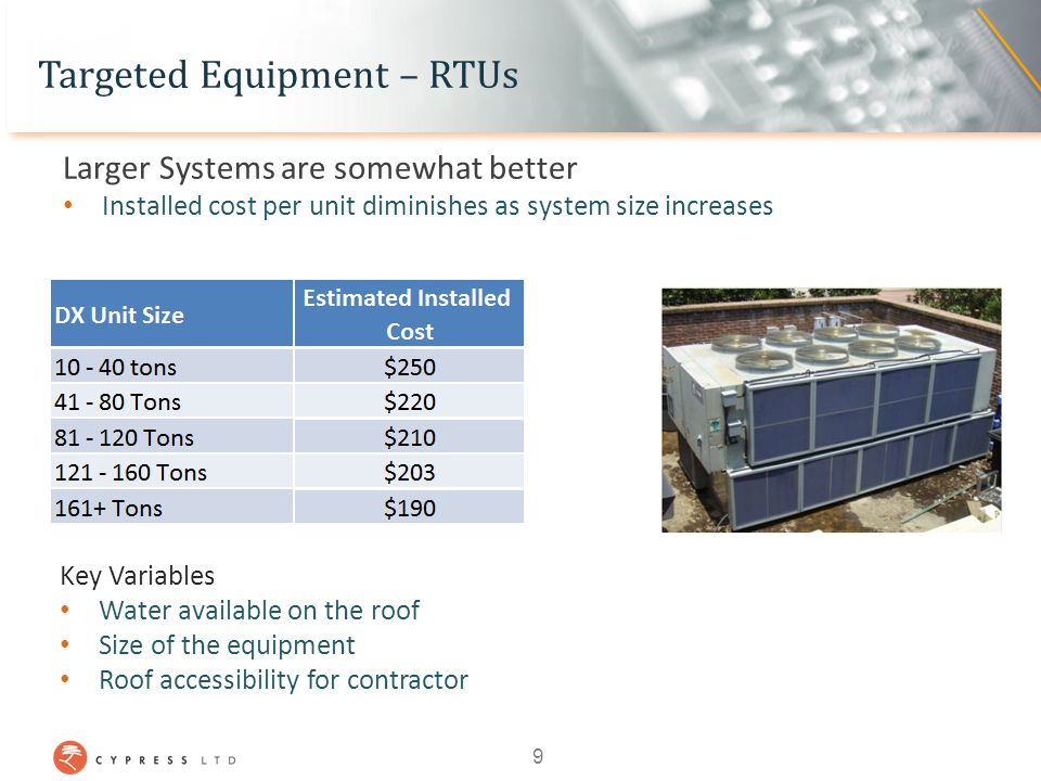 Targeted Equipment – RTUs Larger Systems are somewhat better Installed cost per unit diminishes as system size increases Key Variables Water available