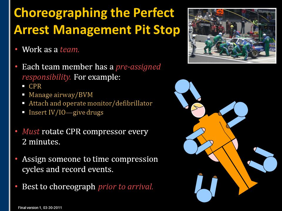 Final version 1, 03-30-2011 Choreographing the Perfect Arrest Management Pit Stop Work as a team.