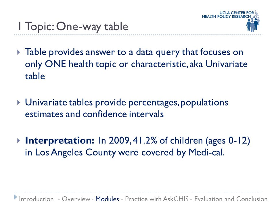 1 Topic: One-way table  Table provides answer to a data query that focuses on only ONE health topic or characteristic, aka Univariate table  Univari