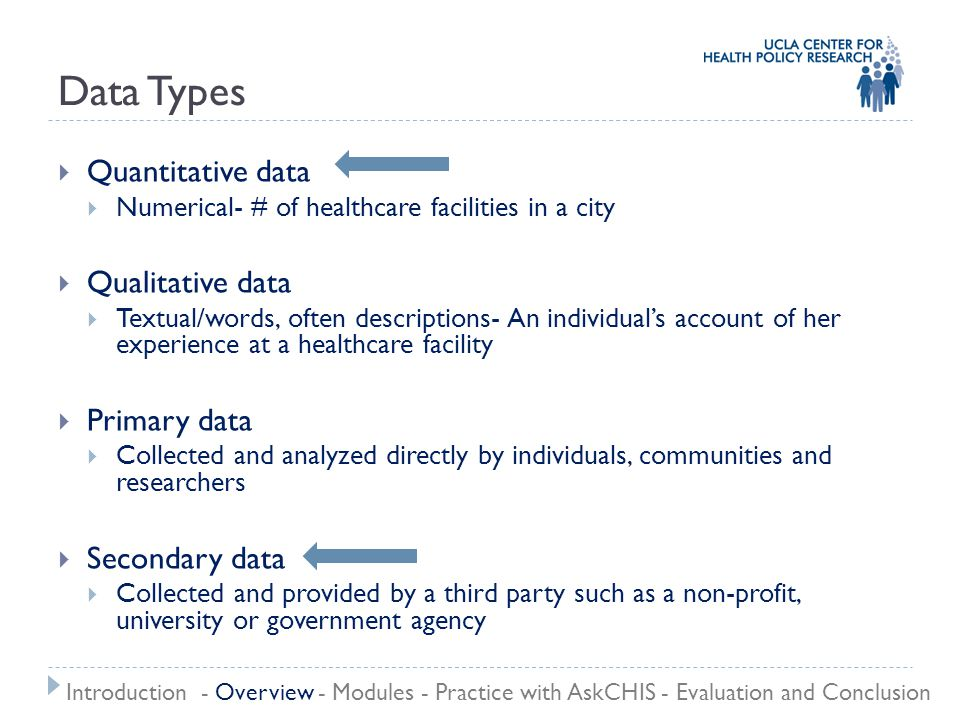 Evaluating Data Credibility Specificity GeneralizabilityReliability Timeliness Introduction - Overview - Modules - Practice with AskCHIS - Evaluation and Conclusion