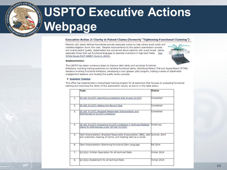 USPTO Executive Actions Webpage 44