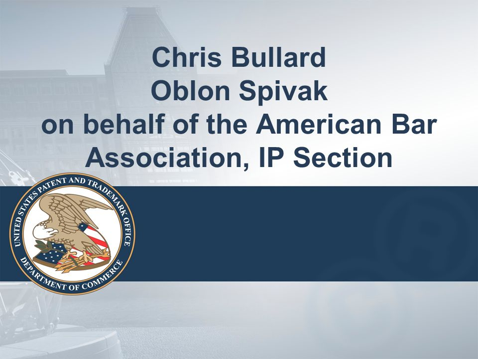 Chris Bullard Oblon Spivak on behalf of the American Bar Association, IP Section