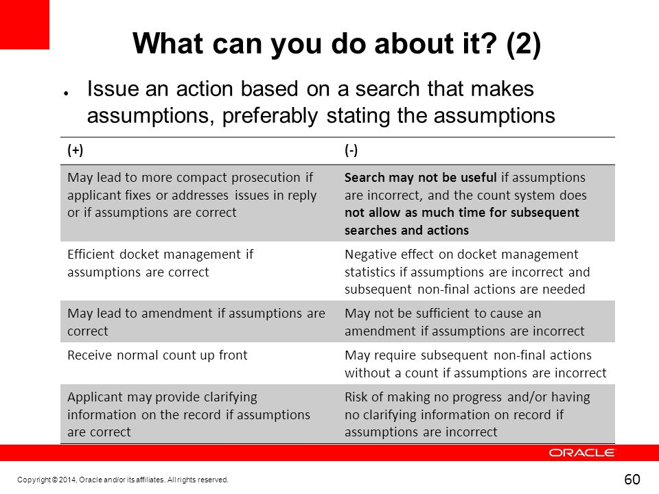 60 What can you do about it? (2) ● Issue an action based on a search that makes assumptions, preferably stating the assumptions Copyright © 2014, Orac