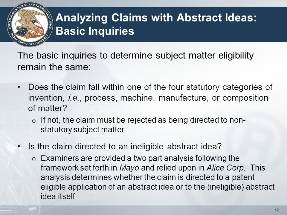 Analyzing Claims with Abstract Ideas: Basic Inquiries The basic inquiries to determine subject matter eligibility remain the same: Does the claim fall