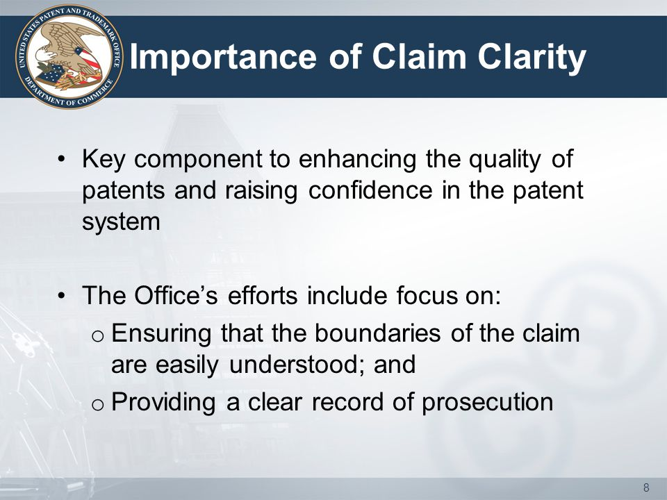 Module 2: Making the Record Clear Benefits of a clear prosecution record o Clarifies the record with regard to the broadest reasonable interpretation for the claim limitations o Places the Applicant on notice with regard to the Office's position, thus enabling a more effective Applicant response o Assists in the evaluation of any afforded patent protection throughout the life of the patent 19