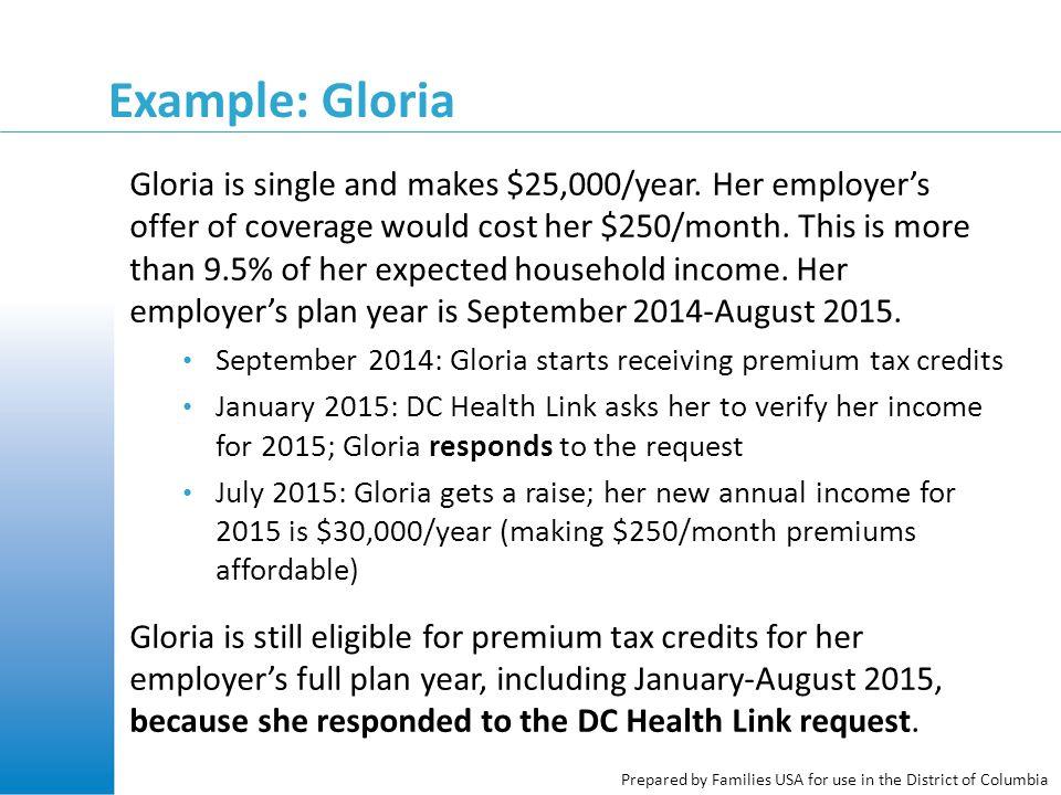 Example: Gloria Gloria is single and makes $25,000/year.